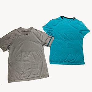 Lululemon L Gray Blue Short Sleeve Athletic Shirts